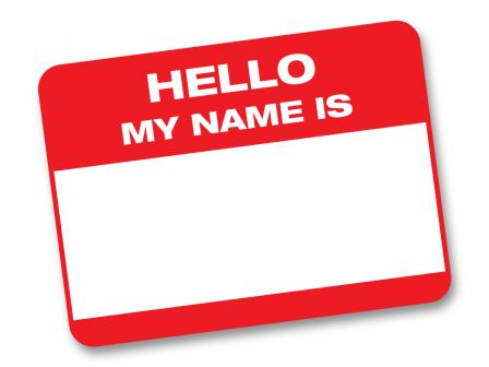 """An """"Hello, My Name Is..."""" sticker"""